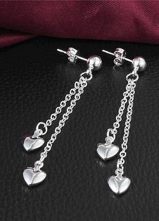 🏵️стильные серьги в серебре 925 сердце на цепочках, новые! арт...