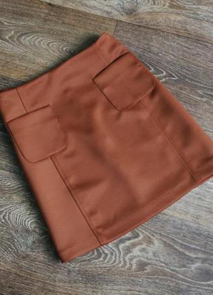 Демисезонная терракотовая цвет ржавчины юбка с накладными карм...