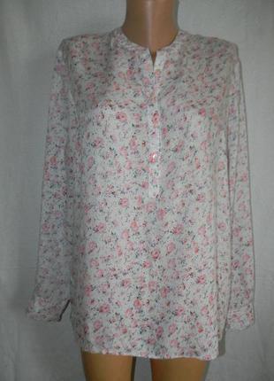Легкая натуральная блуза рубашка с нежным принтом