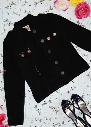🎁1+1=3 фирменная черная женская джинсовая куртка в стиле милит...