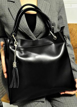 Женская кожаная сумка из натуральной кожи жіноча шкіряна чорна...