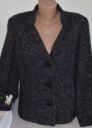Брендовый шерстяной твидовый пиджак жакет с карманами viyella ...