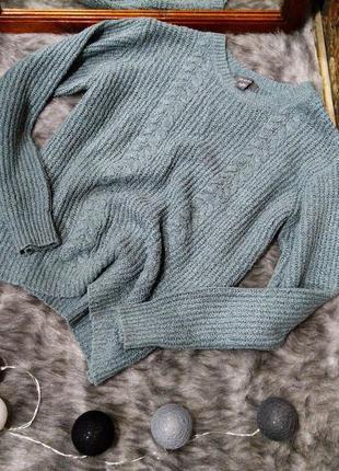 Уютный свитер пуловер джемпер из вязаного трикотажа с косами p...