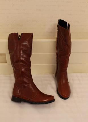 Рыжие зимние кожаные сапоги, сапожки 36 размера на низком ходу