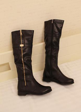 Зимние кожаные сапоги, сапожки 37, 39 размера на низком ходу