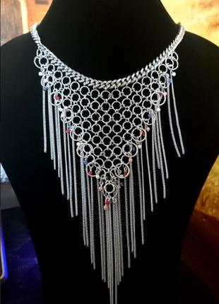 Ожерелье колье цепь чокер кольцо бусины серебро украшение stra...