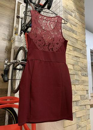 Шикарное бордовое нарядное платье
