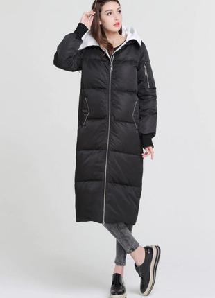 🔥 длинный зимний стильный пуховик 🔥 кокон пуховое пальто элитн...