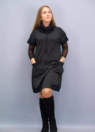Размеры 58-64! платье сарафан француз сью черное, большой размер!