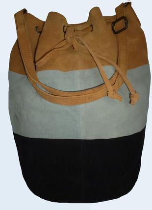 Стильная большущая сумка из натуральной замшевой кожи