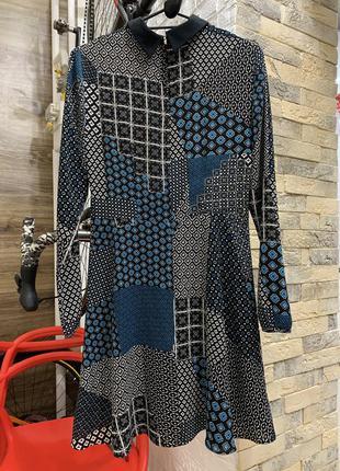 Платье красивое  цветное с длинным рукавом  с воротником