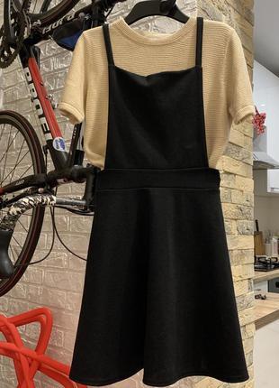 Сарафан платье чёрное юбка кльош