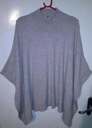 Тёплая,нюдовая,асимметрич,тонкой вязки,туника-свитер,большого ...