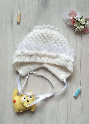 Вязаная капор-шапочка