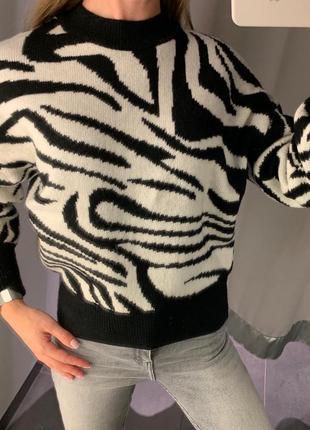 Плотный свитер в анималистический принт зебровый свитер amisu ...