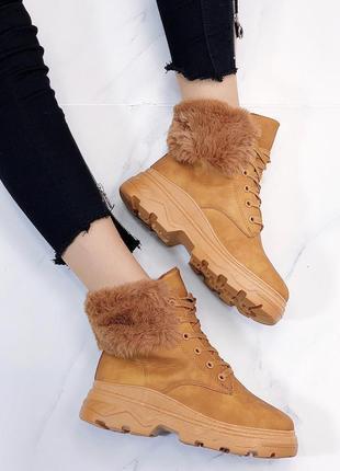 Новые шикарные женские зимние карамельные  ботинки