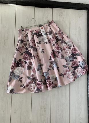 Миди юбка в цветы из неопрена