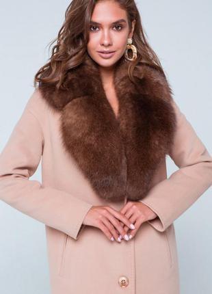 Зимнее меховое пальто барбара классическое с воротником из пес...