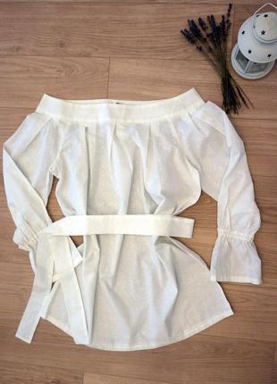 Туника дизайнерская хлопок белая блуза кофта большого размера