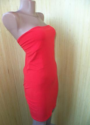Кораллово красное трикотажное платье h&m