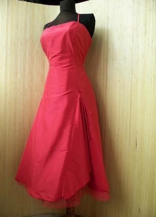 Атласное красное платье бюстье с фатином Your Sixth Sense sm