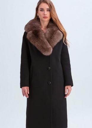 Пальто барбара зимнее с меховым воротником из натурального пес...