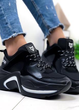 Модные кроссовки чёрные женские wolf