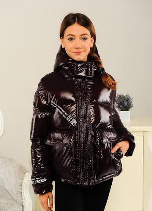 Куртка демисезонная на девочку модная коричневая цвет шоколад ...