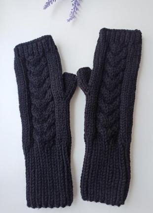 Митенки вязаные зимние перчатки для сенсорных экранов