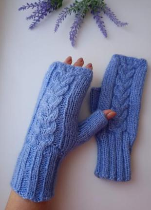 Митенки вязаные перчатки для сенсорных телефонов подарок