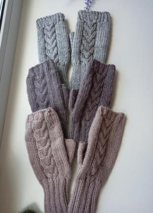 Митенки вязаные перчатки для сенсорных экранов пушистые митенк...