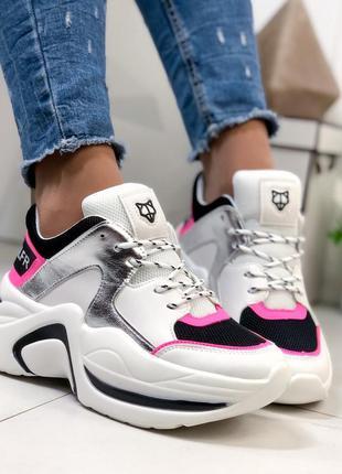 Кроссовки женские модные белые с розовым