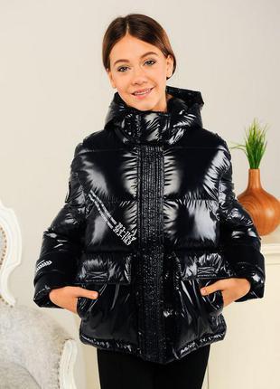 Куртка на девочку демисезонная с капюшоном темно-синяя модная ...