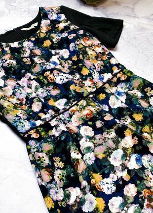 Красивое платье в принт цветы из плотной ткани yiselle