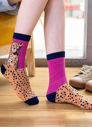 Трендовые носочки в принт/леопардовый/фиолетовый/стильно/новая...