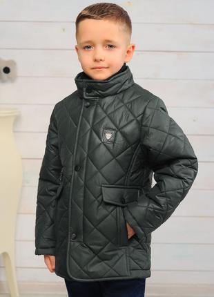Куртка на мальчика демисезонная стеганая цвет хаки стильная ка...