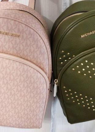 Рюкзак Michael Kors Abbey Medium Ballet Pink Duffle Green Studded