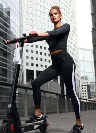 Спортивные леггинсы штаны черный с широким поясом l9024 lorin ...