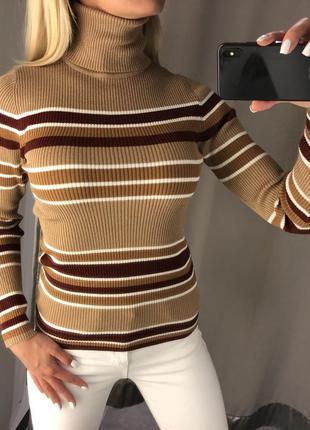 Полосатый гольф свитер с горлом. amisu. размеры уточняйте.