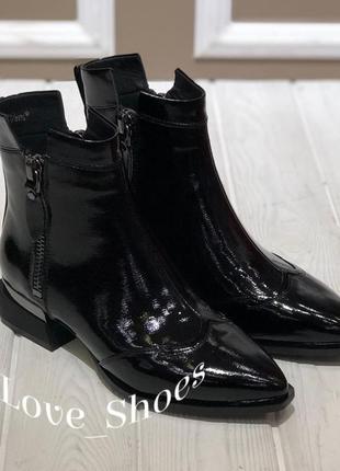 Ботинки демисезонные angelovani, натуральная лаковая кожа