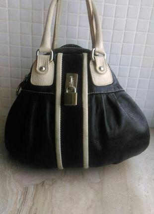 Шикарная винтажная сумка мешок  италия genuine leather