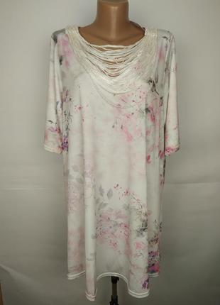 Блуза новая красивая в бабочки шикарная эластичная большой раз...