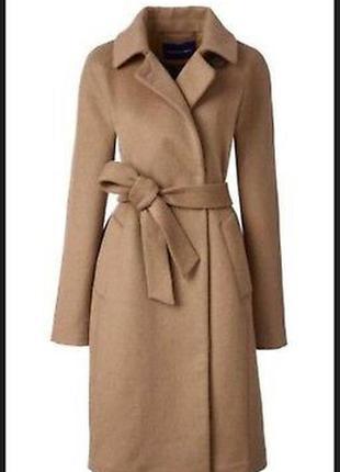 Шерстяное пальто демисезонное весеннее осеннее landsend