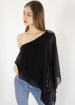 Zara асимметричная шифоновая блузка на одно плечо с длинным ру...