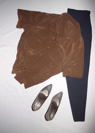 Блуза / рубашка из 100% шелка  коричневая . оверсайз