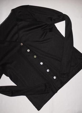 Черный кардиган ( кофта свитер тонкий ) на пуговках из ракушки...