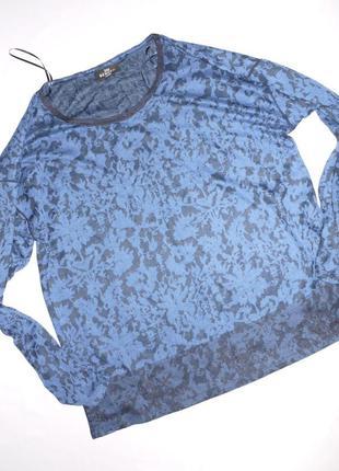 Синий свитшот . кофта . с кружевом и узором . размер побольше ...