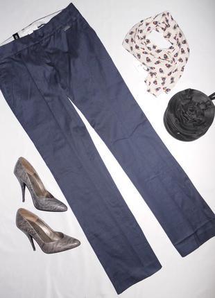 Mango темно синие натуральные брюки . фасон классический . с к...