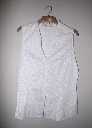 Рубашка без рукава  h&m белая с узором ( цветочек орнамент )