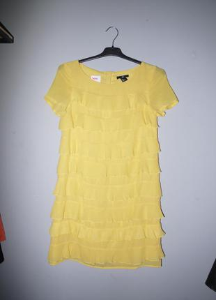 H&m  платье с рюшами желтое мини  ( платье футляр ) шифоновое ...